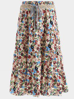 Belted Printed A Line Maxi Skirt - Palomino