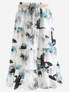 Belted Printed A Line Maxi Skirt - Light Gray
