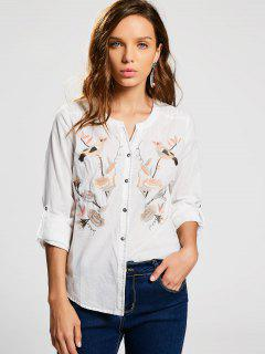 Button Up Floral Bird Embroidered Shirt - White L