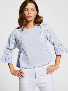 Crochet Panel Sheer Striped Blouse - Stripe M