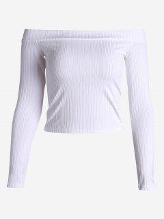 Ribbed Cropped Off Shoulder Top - White M