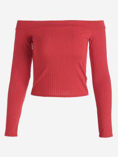 Ribbed Cropped Off Shoulder Top - Red M