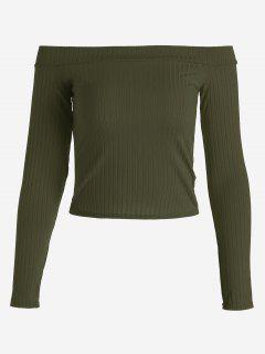 Ribbed Cropped Off Shoulder Top - Army Green M