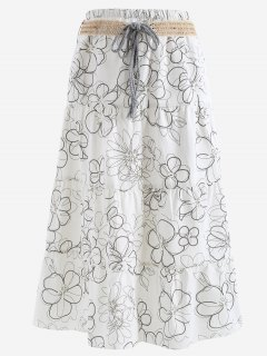 Belted Printed A Line Maxi Skirt - White