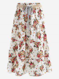 Belted Printed A Line Maxi Skirt - Red And White