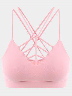 Strappy Workout Bra - Pink M