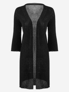 Open Front Knitted Ribbed Cardigan - Black