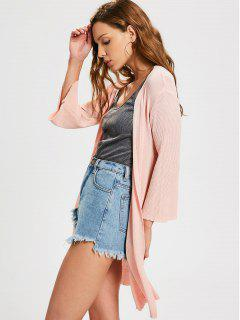 Open Front Knitted Ribbed Cardigan - Pink