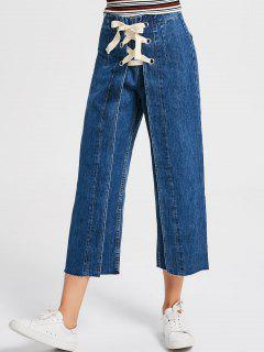 Denim Lace Up Wide Leg Jeans - Denim Blue L