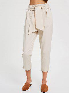 Casual Bow Tie Ninth Pants - Apricot S