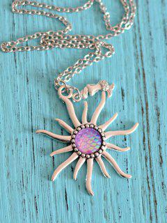 Sun Mermaid Scale Pendant Necklace - Light Purple