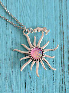 Sun Mermaid Scale Pendant Necklace - Light Pink
