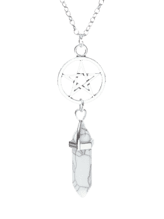 Circle Star Natural Stone Pendant Necklace - White