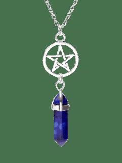 Circle Star Natural Stone Pendant Necklace - Royal