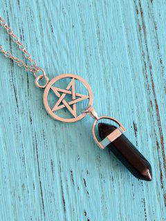 Natural Stone Pendant Collarbone Necklace - Black