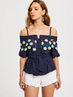 Embroidered Patched Ruffles Cold Shoulder Top - Purplish Blue L