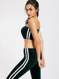 Striped Trim Velvet Tube Top And Flare Pants - Blackish Green S