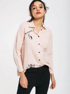 Button Down Embroidered Checked Shirt - Checked L