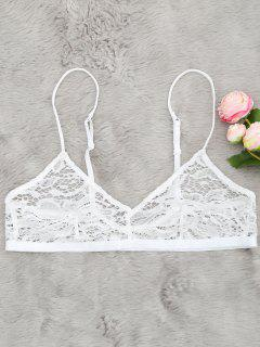 Sheer Lace Plunging Neck Bralette - White M