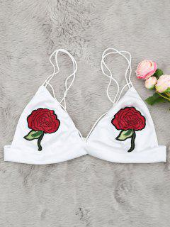 Flower Applique Cami Bralette - White M