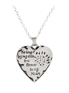 Heart Engraved Claw Forever Footprint Necklace - White