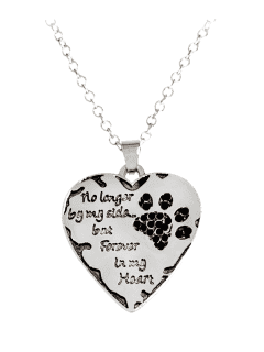Heart Engraved Claw Forever Footprint Necklace - Black