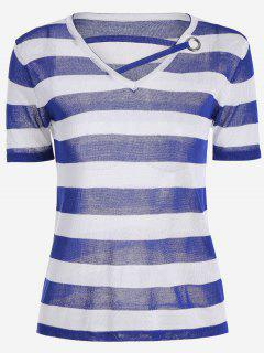 V Neck Striped Knitted Tee - Blue
