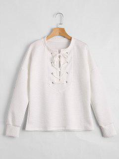 Drop Shoulder Lace Up Sweatshirt - White Xl