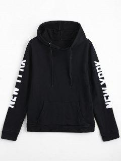 Letter Print Front Pocket Drawstring Hoodie - Black Xl