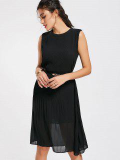 Pleated Panel Belted Chiffon Dress - Black M