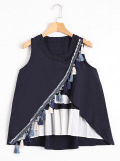 Tassels Embellished Camiseta Sin Mangas Plisada - Azul Purpúreo