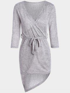 Plunging Neck Belted Asymmetric Dress - Heather Gray L