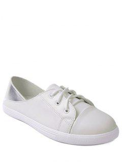 Faux Leather Tie Up Two Tone Flat Shoes - White 39