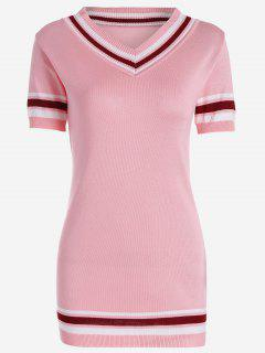 V Neck Striped Knitted Dress - Pink