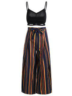 Cami Top And Belted Slit Pants Set - Stripe L