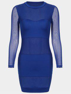 Sheer Mesh Panel Bodycon Dress - Blue L