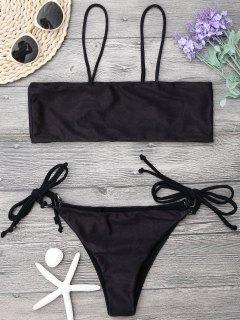 Tied Bandeau Bikini Set - Black L