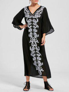 Bandana Floral Flare Sleeve Dress - Black Xl