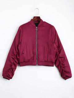 Puffer Zip Up Bomber Jacket - Red S