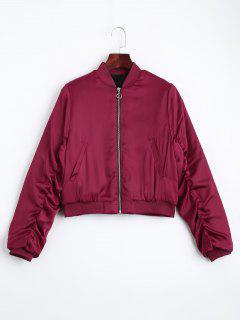 Puffer Zip Up Chaqueta De Bombardero - Rojo S
