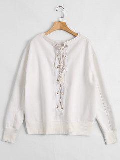 Back Lace Up Pullover Sweatshirt - White S