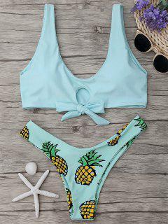 Pineapple Print Thong Bottom Bikini Set - Light Green S