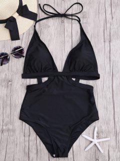 Cut Out Halter Monokini - Black S