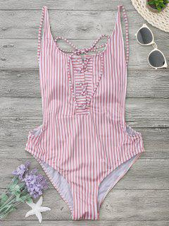 Striped Backless Lace Up Swimwear - Stripe L