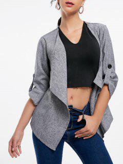 Long Sleeve Draped Open Front Blazer - Gray M