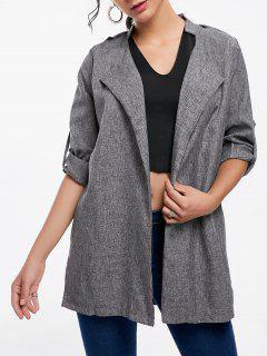 Open Front Tunic Coat - Gray 2xl