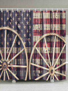 Distressed American Flag Fabric Shower Curtain - W71 Inch * L79 Inch