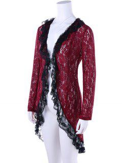 Two Tone Lace High Low Hem Cardigan - Wine Red L