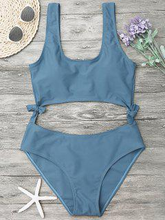 High Leg Cut Out Bowknot Swimwear - Blue Gray M