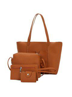 Textured Leather 4 Pieces Shoulder Bag Set - Brown